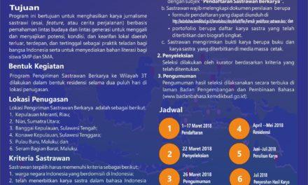 SELEKSI PENGIRIMAN SASTRAWAN BERKARYA KE WILAYAH 3T 2018