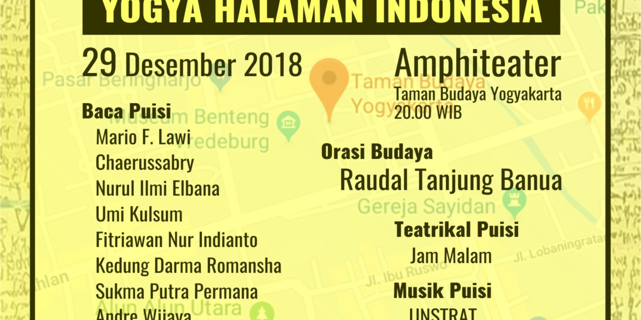 Bincang-Bincang Sastra edisi 159   Pesta Puisi Akhir Tahun: Yogya Halaman Indonesia Jilid III