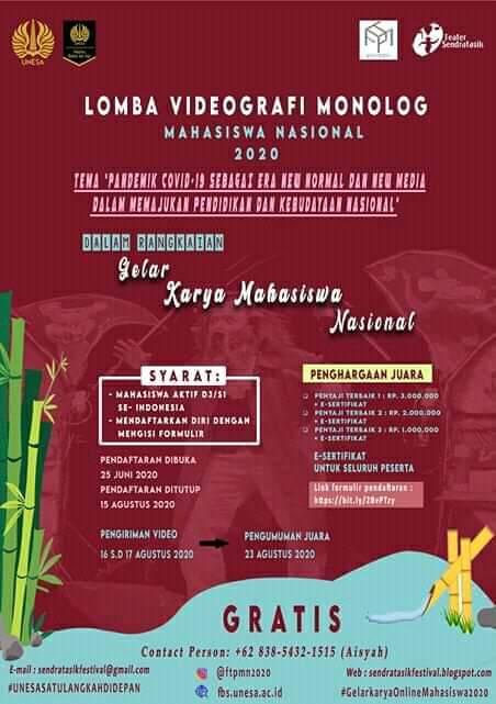 Lomba Videologi Monolog Mahasiswa Tingkat Nasional 2020