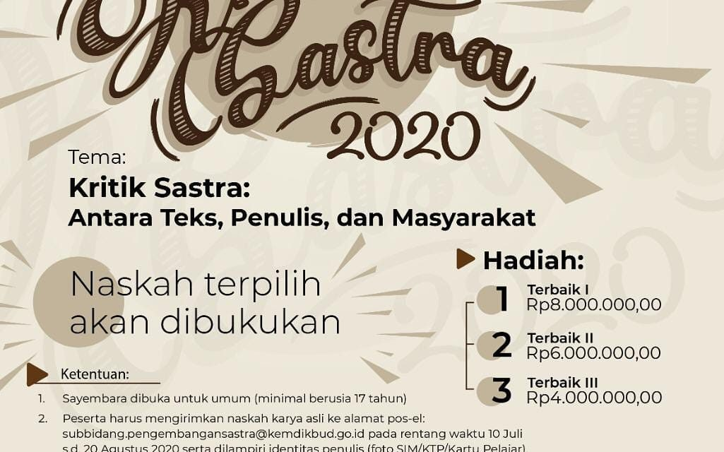 Sayembara Kritik Sastra 2020 Badan Bahasa Kemendikbud